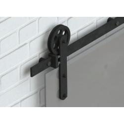 Posuvný systém na celoskleněné dveře Country Glass, černý, pro jedny dveře