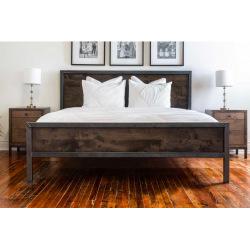 Industriální kovová  postel ocel a dřevo - Tavera