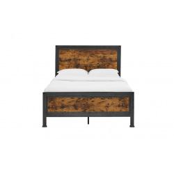Industriální kovová  postel ocel a dřevo - Worty