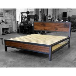Industriální kovová  postel ocel a dřevo - Rita