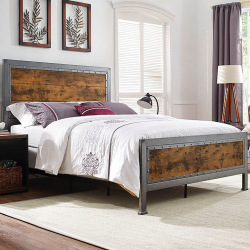 Industriální kovová  postel ocel a dřevo - Irina