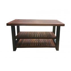 Ocelový kuchyňský ostrůvek se dřevem Jawi
